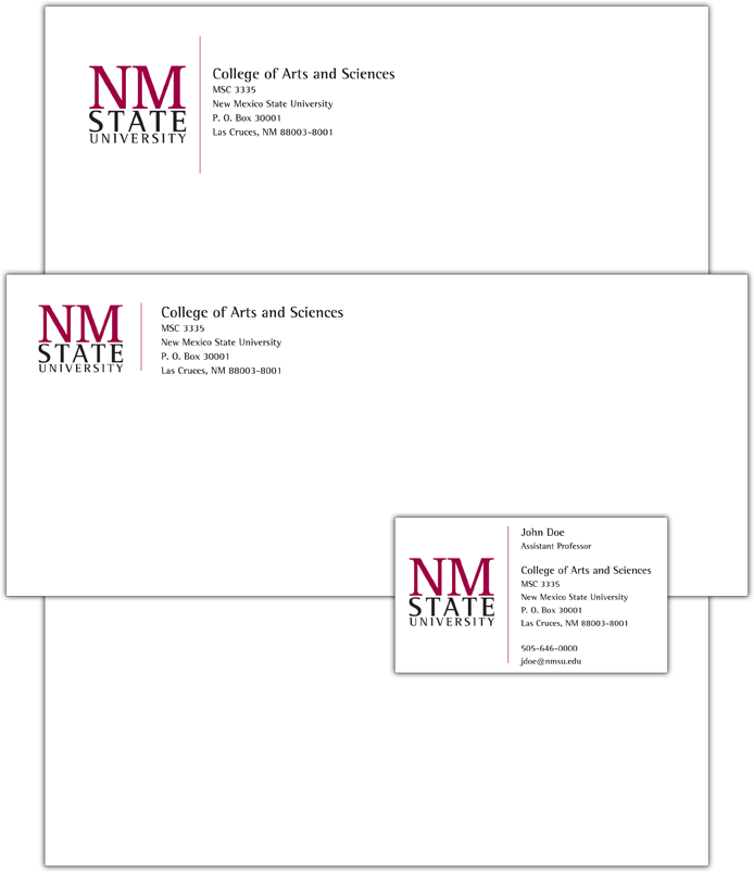 Sample layouts of NMSU letterhead, envelope and business card ...