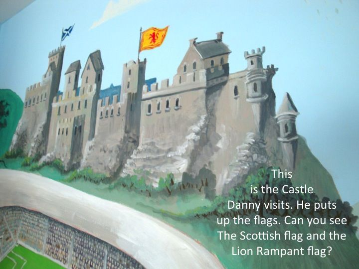 Danny visits the castle to raise the Scottish flags. He is patriotic towards Scotland despite the performance of their national soccer team. Analyzing the scene, you can tell we are looking at a st...