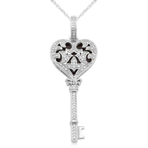10k white gold with black enamel heart key diamond pendant necklace 10k white gold with black enamel heart key diamond pendant necklace 14 cttw mozeypictures Gallery