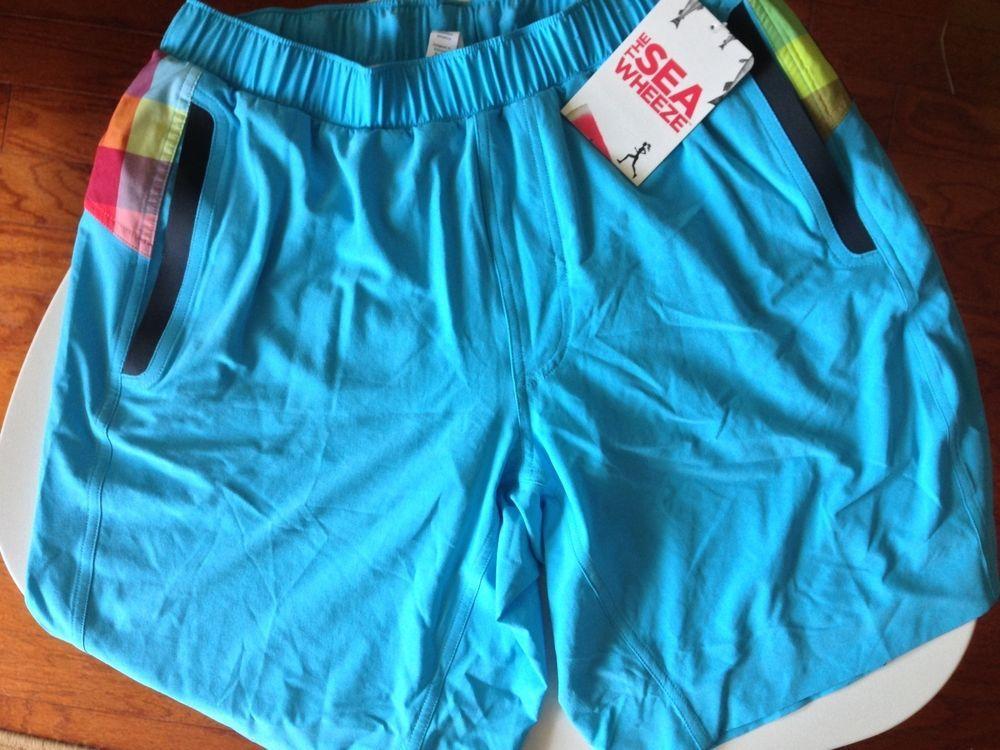Lululemon Men's Seawheeze 2012 Shorts M Running Plaid Blue Black NWT Red See Pic #Lululemon #Shorts