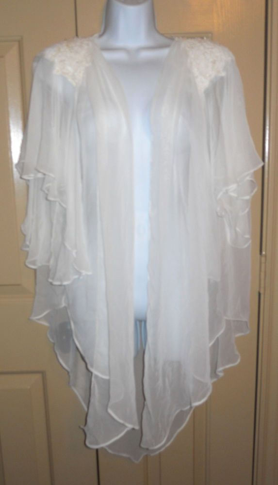Jonquil by Diane Samandi Neiman Marcus white flowy beaded embroidered cape  robe in Clothing 168084145