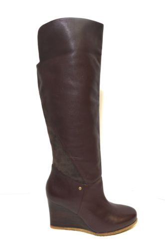 49a2655771c UGG Australia RAVENNA Stout Knee High Leather Wedge Boots BROWN US ...