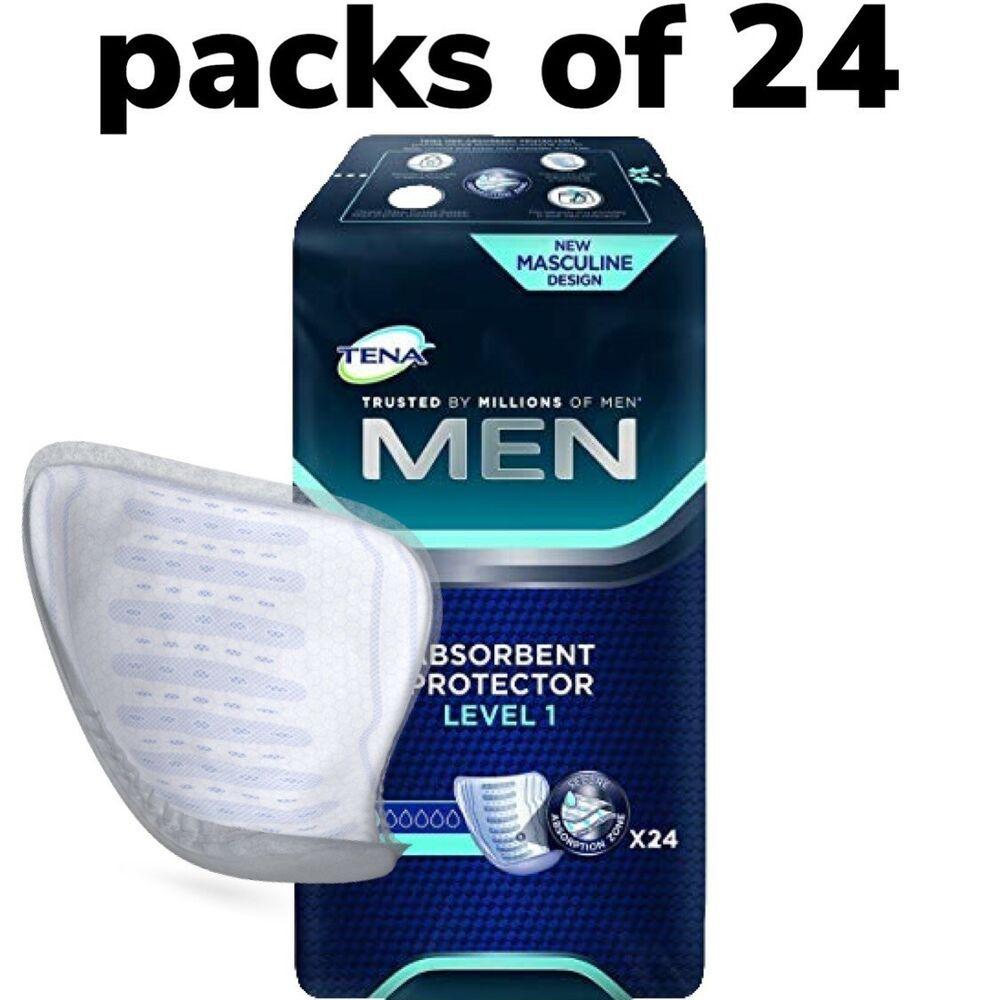 Details About Tena Men Level 1 Absorbent Protector Packs Of 24 Guards Incontinence Pads Incontinence Pads Incontinence Absorbent