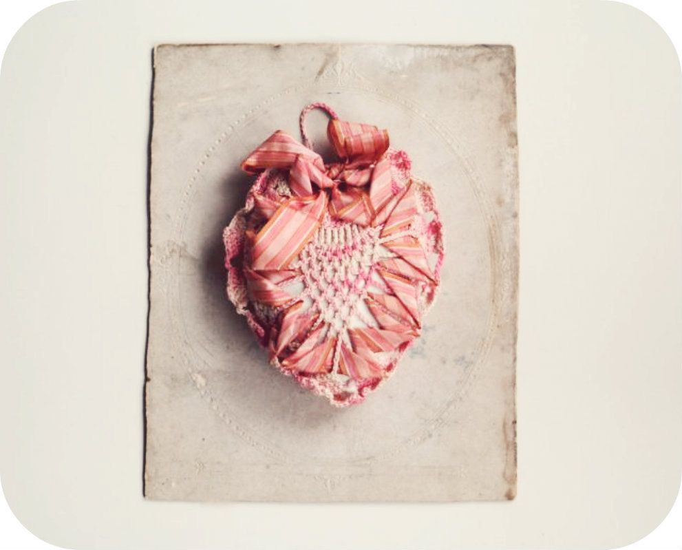 Antique Crochet Ribbon Heart Pin Cushion, Wedding Ring Pillow ...