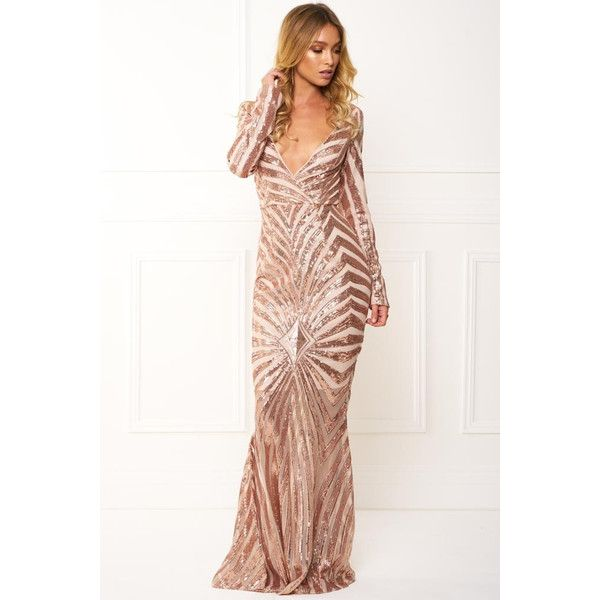 Honey couture imogen rose gold sequin long sleeve evening gown dress ...