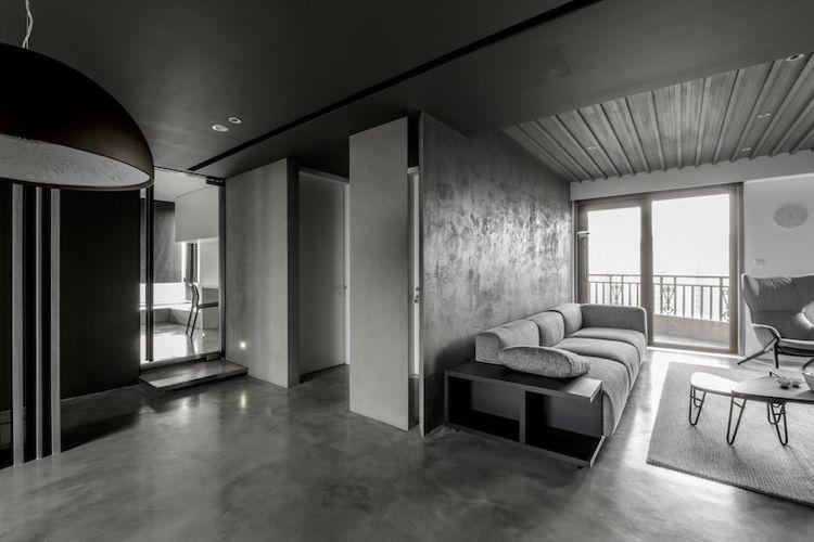 Delightful Farbe Grau  Visuelle Effekte Wandgestaltung Satin Putz Beton