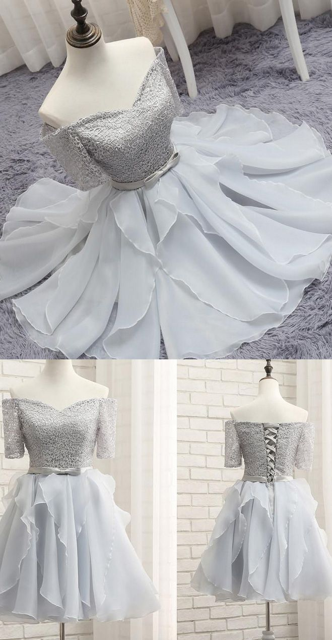 Alineprincess party prom dresses short silver dresses with lace up