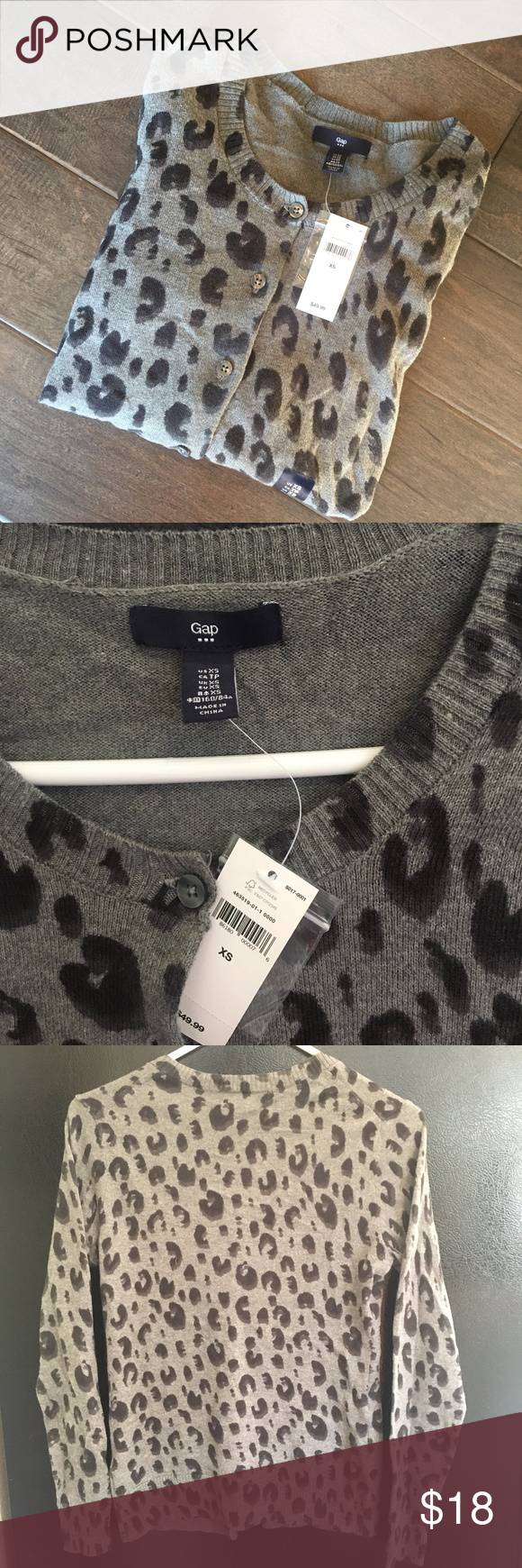 b601a5901038 Gap XS animal print cardigan It's classic and new with tags! Gray leopard  print from Gap Factory. GAP Sweaters Cardigans