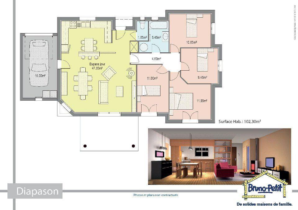 Diapason De Bruno Petit Ghpa 5 Pieces 103 M Plan Maison Achat Maison Maison Plain Pied