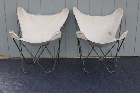 outdoor sling chairs. Pair Of Iron Butterfly Chairs Folding Vintage Outdoor Sling Chair With Canvas Covers Mid Century Modern Patio Furniture D