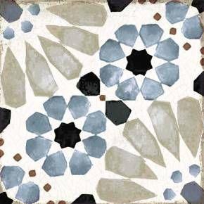 Carreau Sol Vintage Carreau De Ciment Bleu Motifs Mauresques
