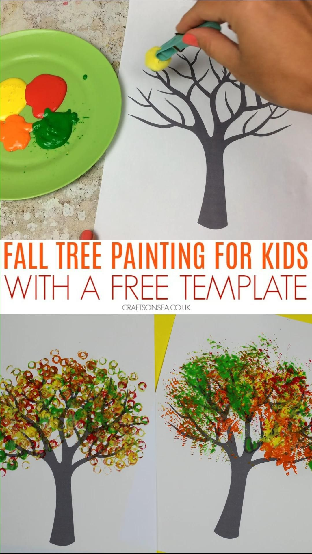 Autumn Tree Painting Ideas for Kids (FREE TEMPLATE)