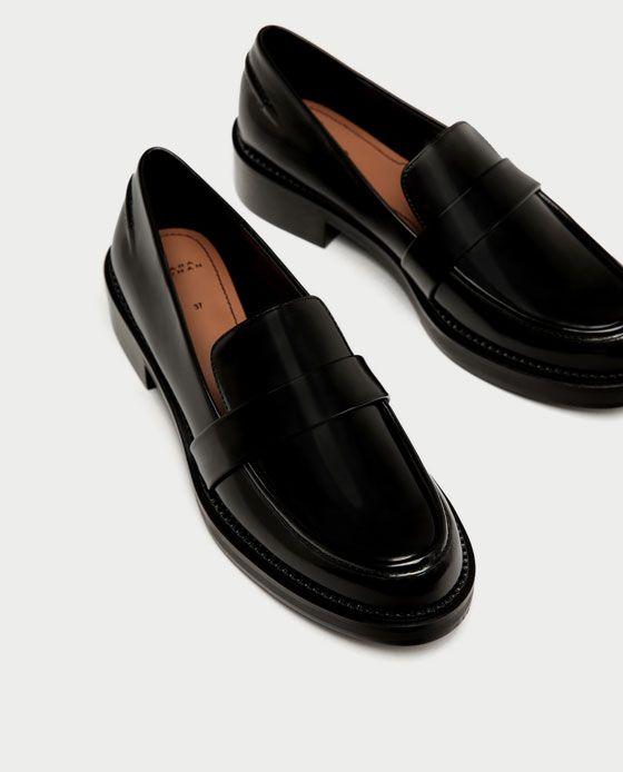 a000211d538 ZARA - WOMAN - LEATHER LOAFERS Loafers Outfit, Oxfordskor, Filtar, Platta  Skor,