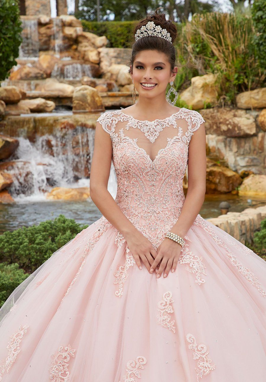 Vizcaya by Mori Lee  60092 Beaded Lace Illusion Neckline Tulle Gown - Pretty quinceanera dresses, Quinceanera dresses pink, Quince dresses, Quinceanera dresses blush, Quincenera dresses, Quinceanera dresses - Sparkle with beauty in this beautiful ballgown by Vizcaya by Mori Lee 60092  Charms in an illusion neckline framed in a bateau neck with cap sleeves  The bodice is exquisitely