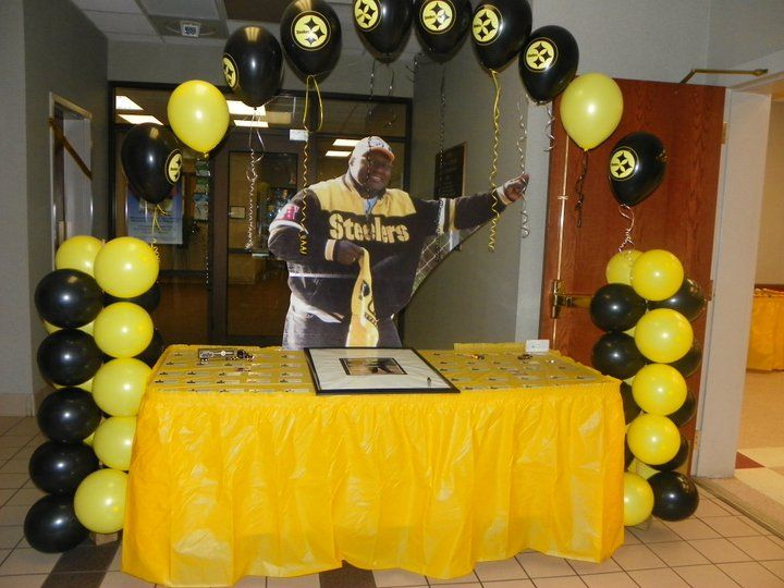 Pittsburgh Steelers Themed Birthday Party Life Size Poster Cutout Of The Birthday Boy Birthday Parties Birthday Surprise Party Birthday Party Decorations Diy