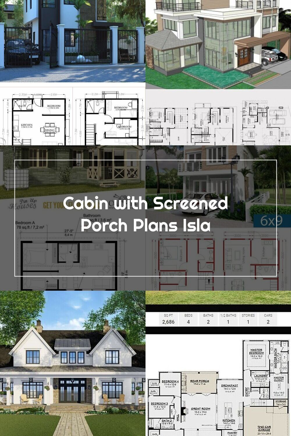 Small And Tiny Home Plans With Cost To Build Cabin With Screened Porch Pl In 2020 Tiny House Plans Porch Plans House Plans