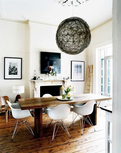 Love the woodwork! MOLDING A MODERN DINING ROOM WITH EAMES!