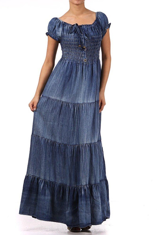 e05fe22d82 Kiwi Co. Audrina Cap Sleeve Smocked Tiered Denim Maxi Dress Denim Blue