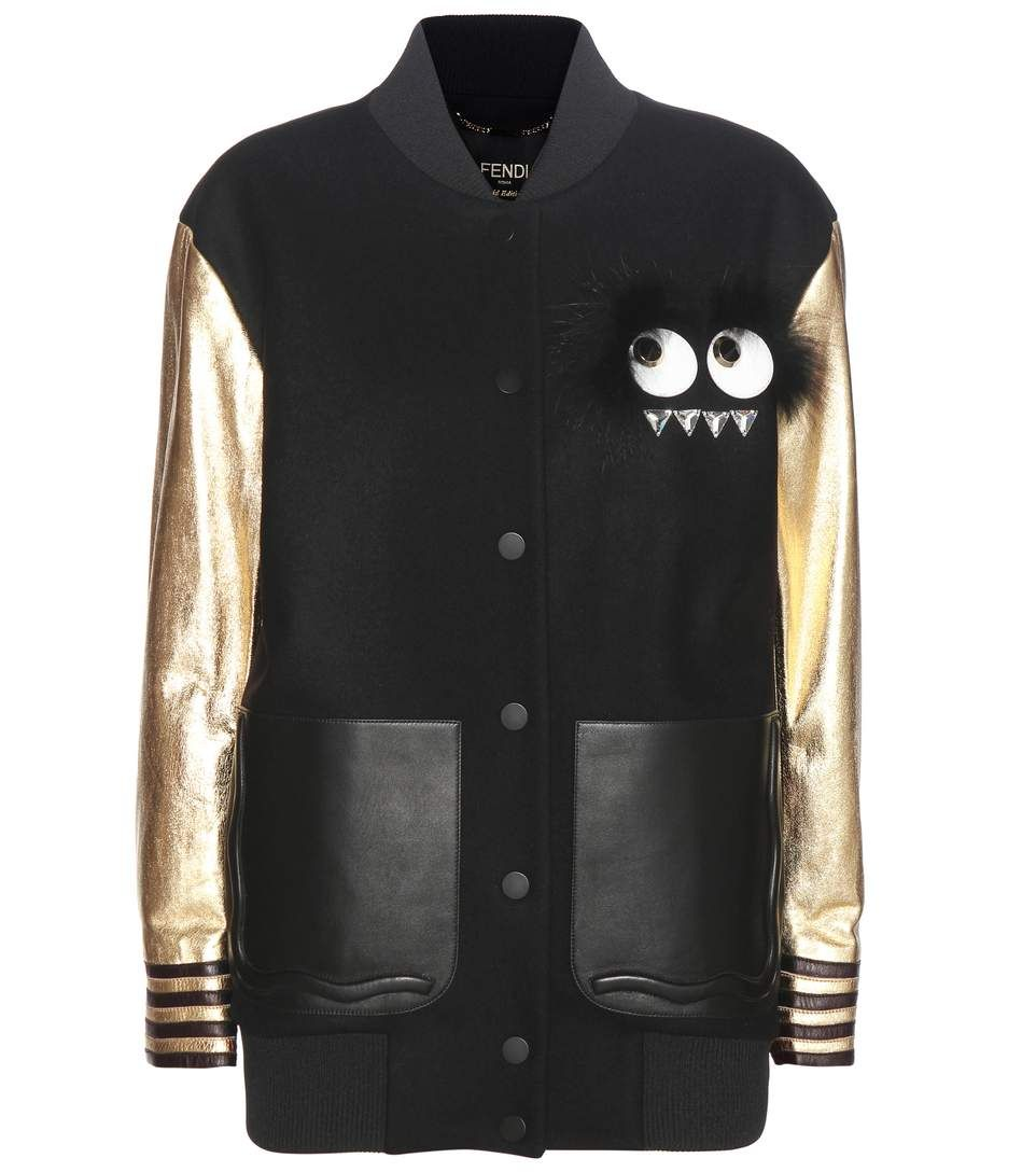 ada3ad883ecd Fendi - Veste teddy noire et dorée en laine et cuir à finitions en fourrure