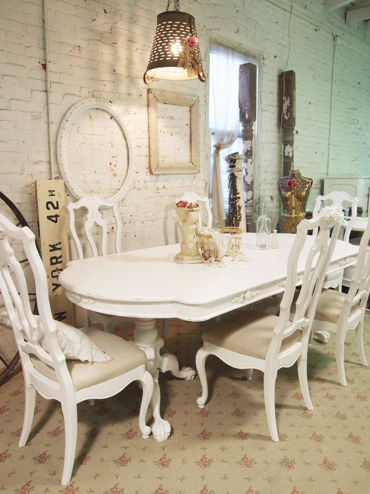 Shabby+french+cottage | Painted Cottage Chic Shabby White French Dining  Table