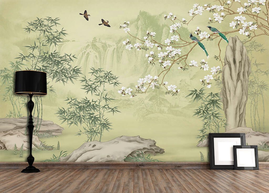 Bamboo Mountain Wallpaper Removable Chinoiserie Trees Wall