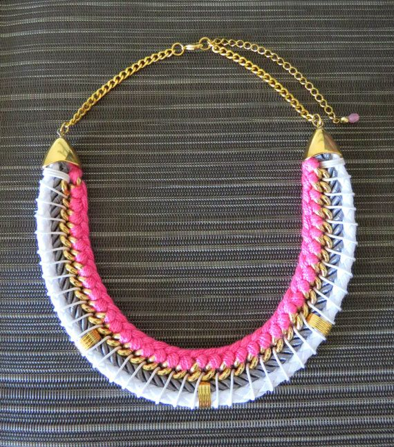 Pink and white cord necklace braided statement by goldsparks