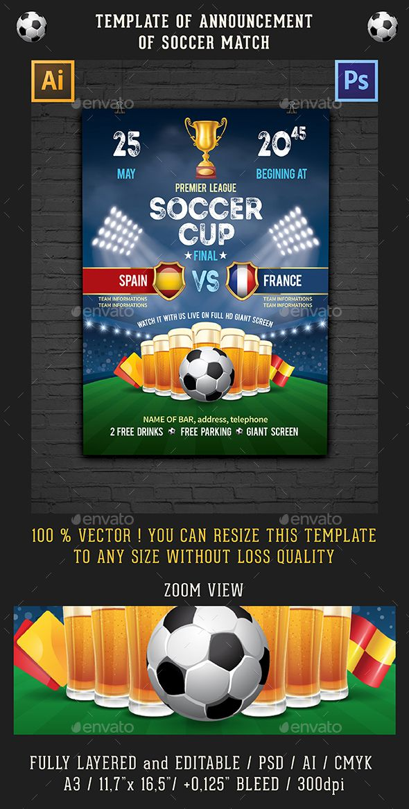 Template Of Announcement Of Soccer Match  Event Flyers Template