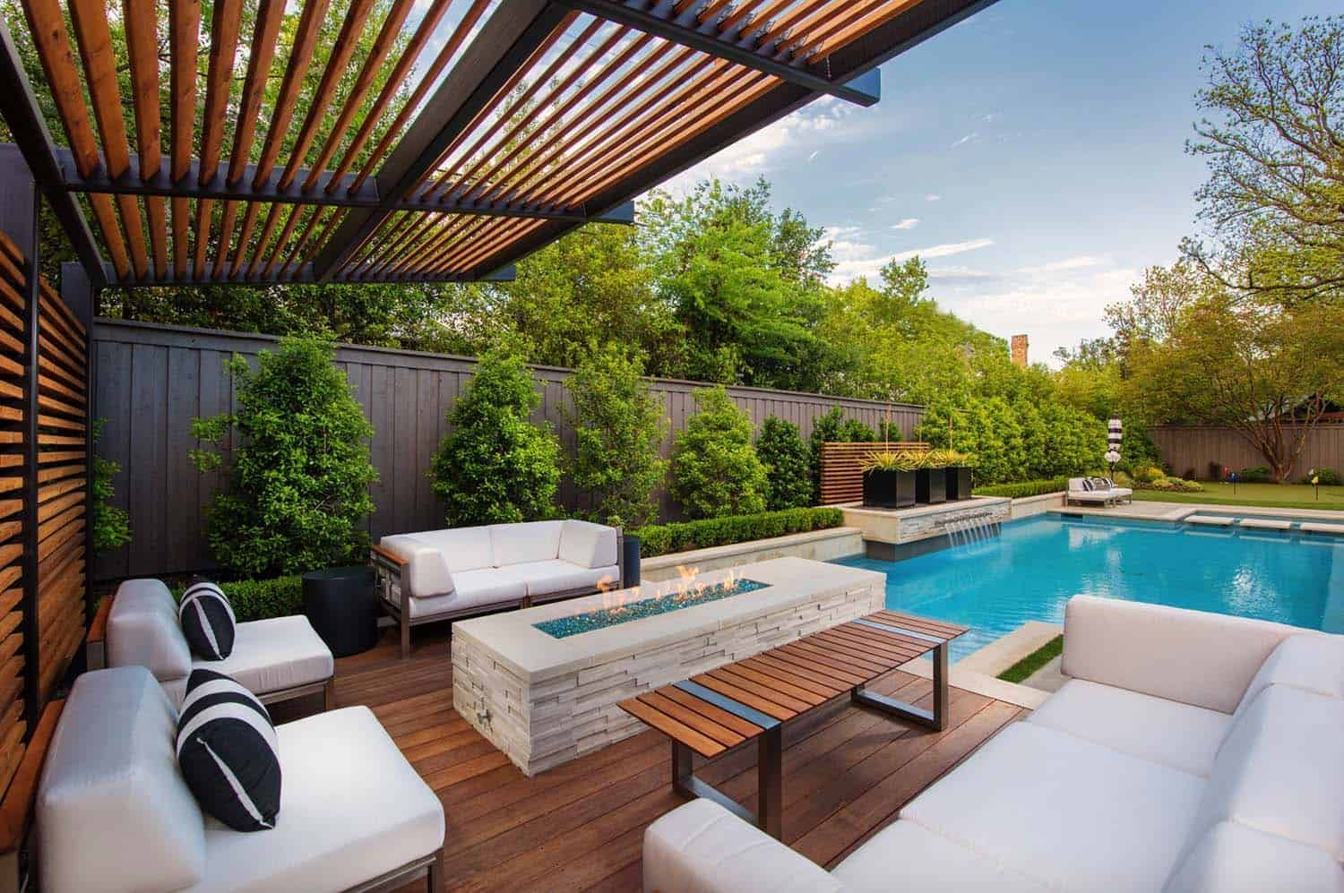 28 Inspiring Fire Pit Ideas To Create A Fabulous Backyard Oasis Modern Backyard Backyard Oasis Modern Pools