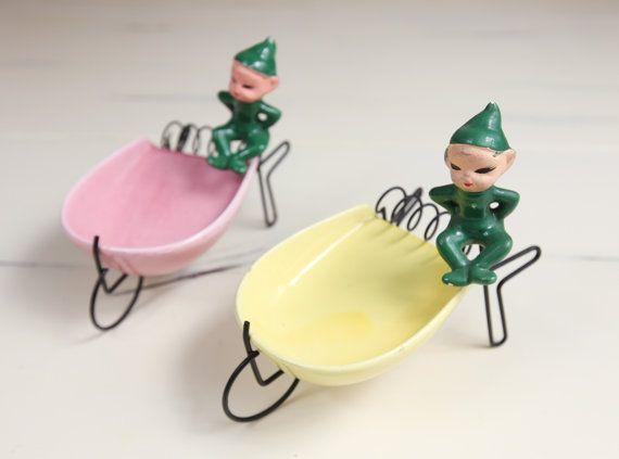 Vintage Pixie Elf Ashtray / Snack Dishes wire / by lazydaysrelics,