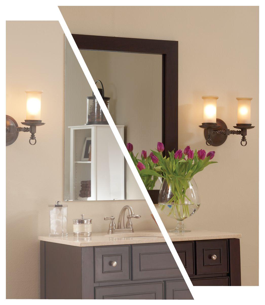 pretty framing a bathroom. turn your plain bathroom mirror into a pretty framed with MirrorMate