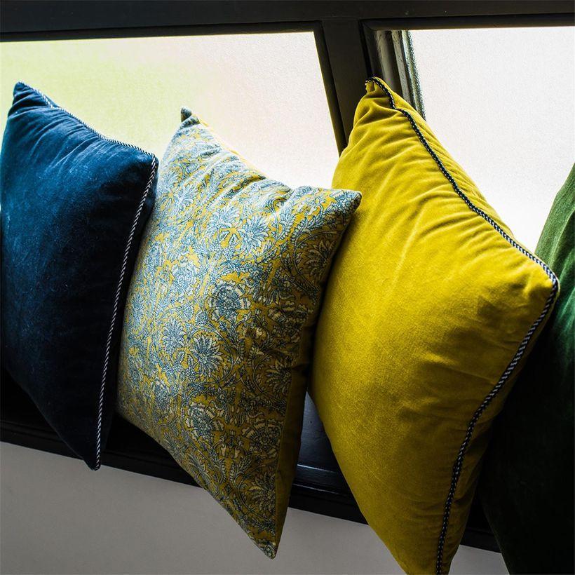 Housse de coussin en velours de coton carré Delhi Absinthe
