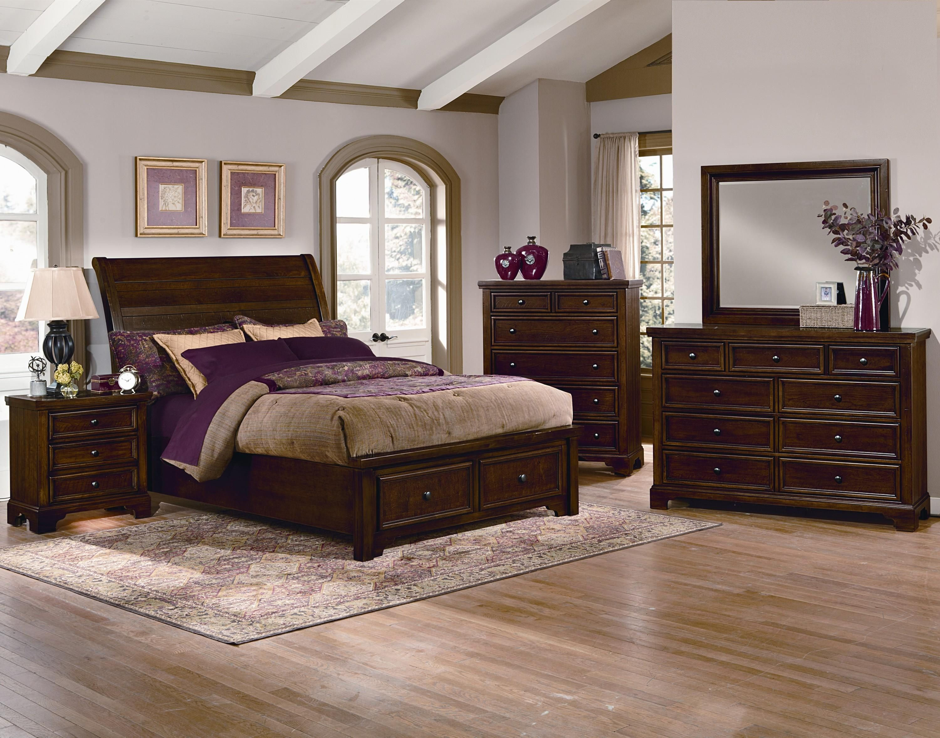 Vaughan Bassett Hanover 4 Piece Sleigh Storage Low Profile Bedroom