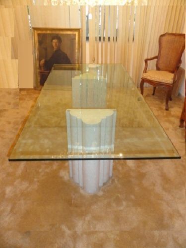 Modern 70s Chic Italian Elaborate Marble Base Glass Top Dining
