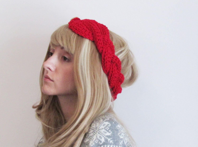 Red turban braid women\'s headband ear warmer - button closure - hand ...