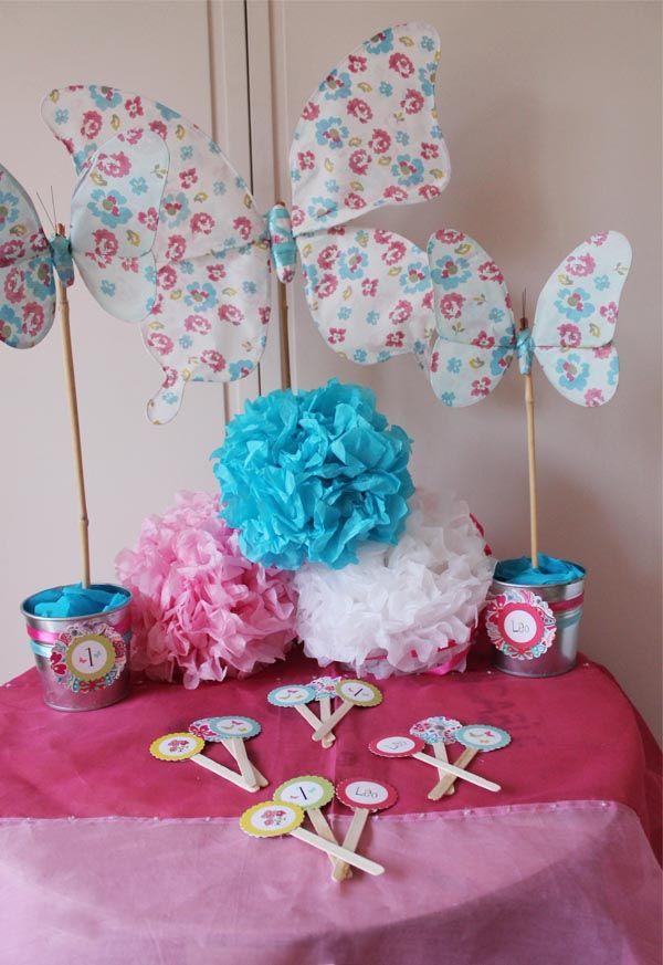 Decoraci n con mariposas d a de fiesta party fiesta - Decoracion primer cumpleanos ...