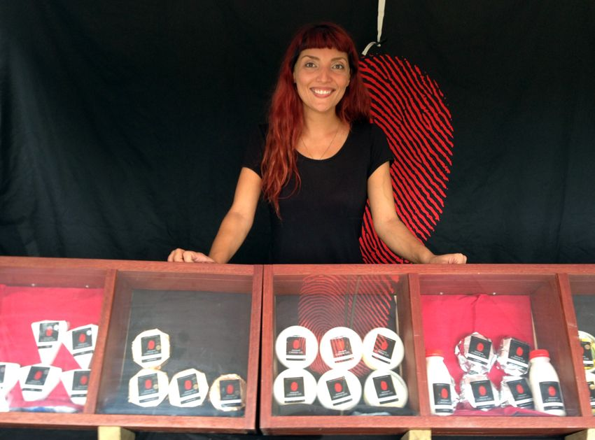 Feb 7: the very lovely Hope selling amazing locally made cheese at Mullumbimby Farmers market