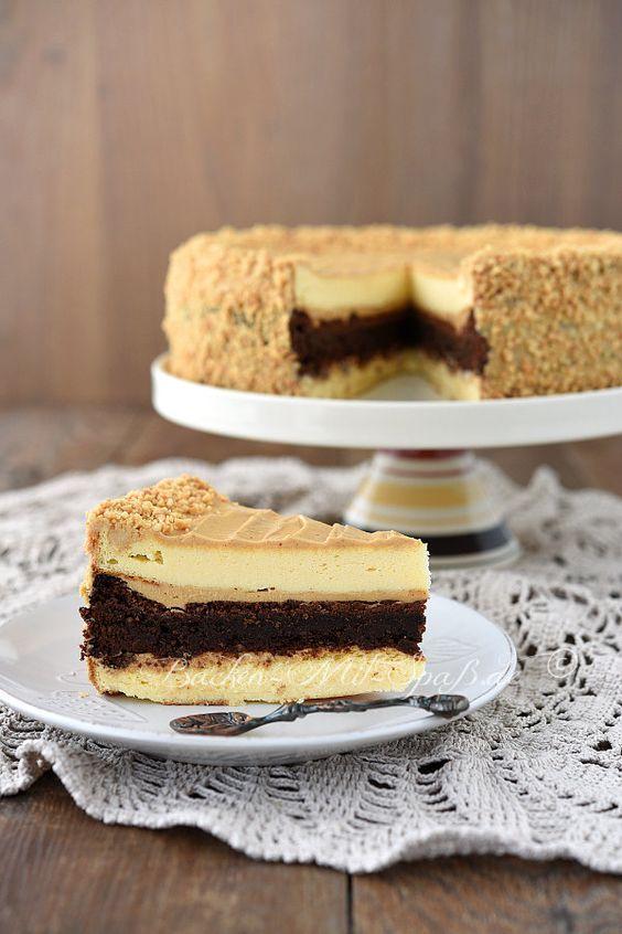 Brownie- Käsetorte mit Erdnussbuttercreme #bananapie