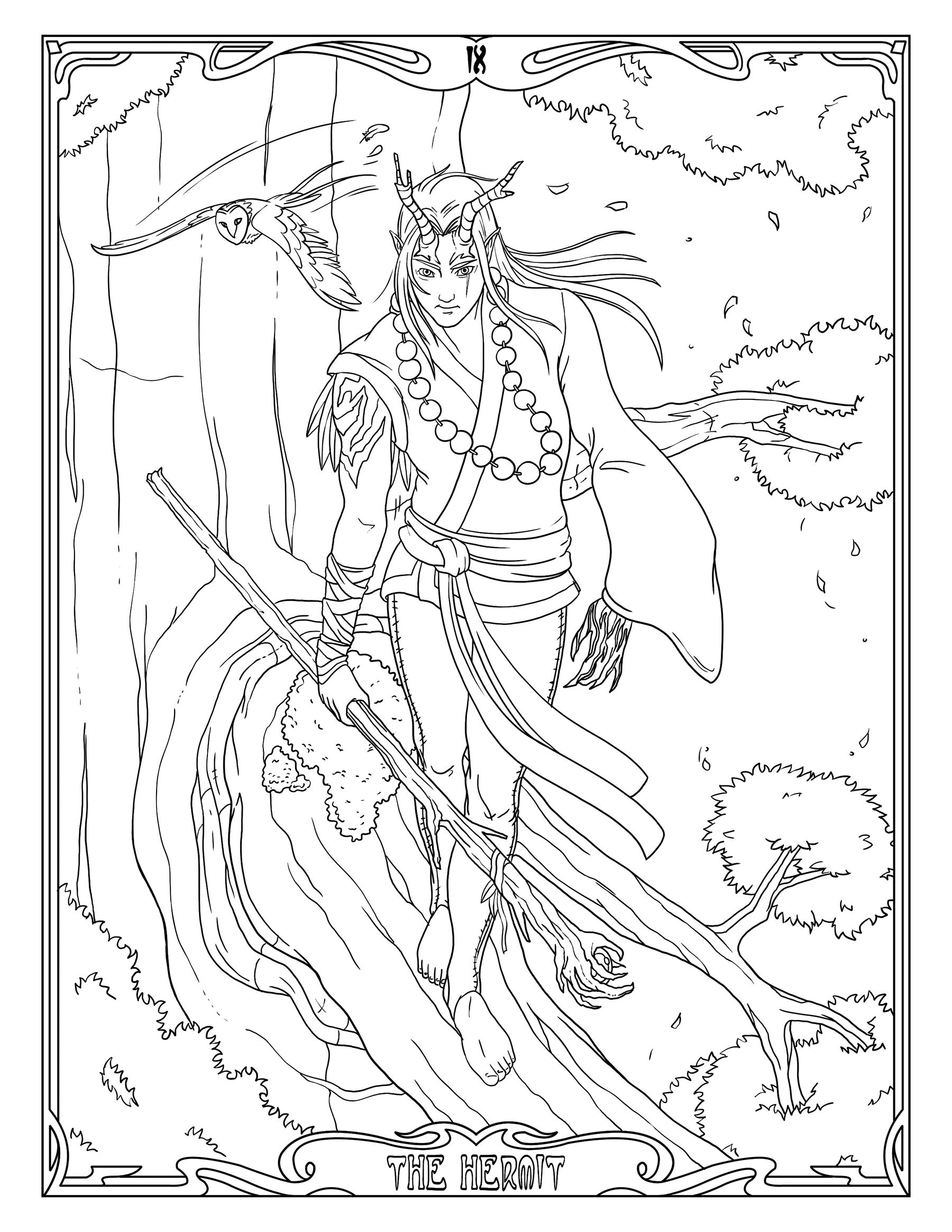 Tarot Coloring Page The Hermit, Druid Printable Coloring