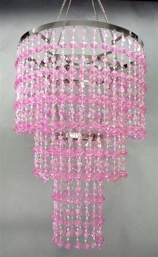 15 Pink Faux Crystal Like 3 Tier Beaded Chandelier Home Party Decorations Pink Crystal Chandelier Beaded Chandelier Pink Gemstones