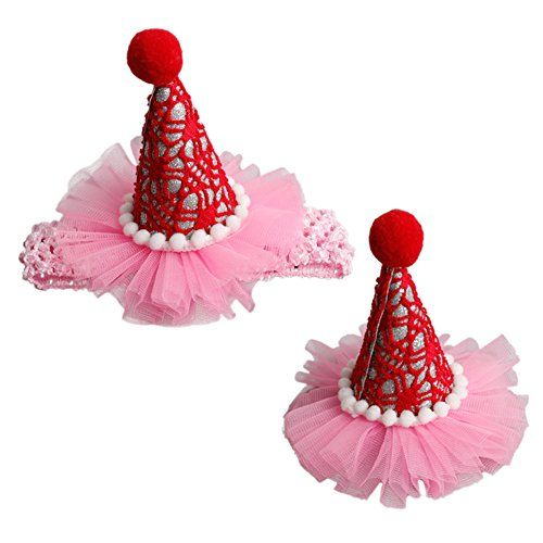 Set Of 2 Bling Baby Birthday Party Hair Headband Clip Sparkling Princess Hat Rope ClipRed Details Can Be Found By Clicking