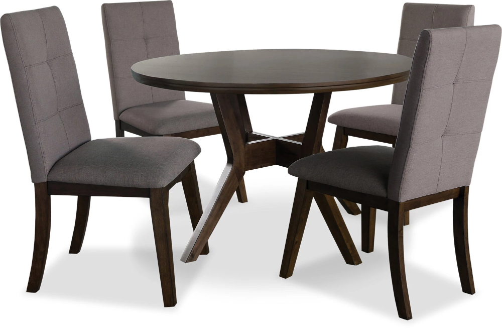 Chelsea 5 Piece Round Dining Table Package With Brown Chairs