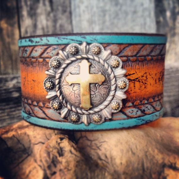 Handmade Leather Cuff Wristband with Silver Cross Concho, Orange, Turquoise, Bracelet on Etsy, $46.00