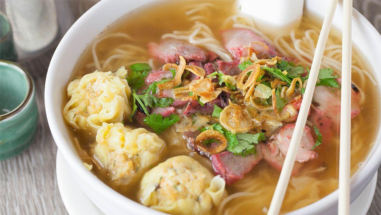 Bbq pork noodle soup thai monkey club food order food