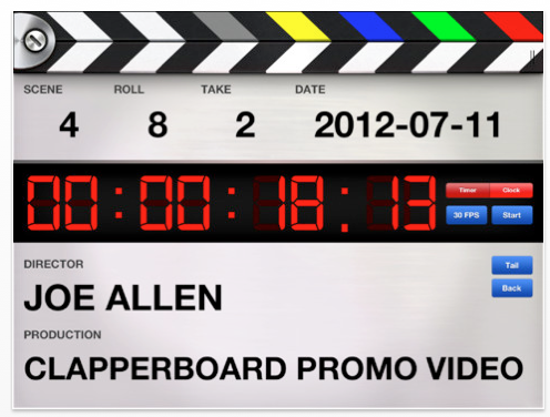 Professional Digital Clapperboard - Timecode Sync and Video