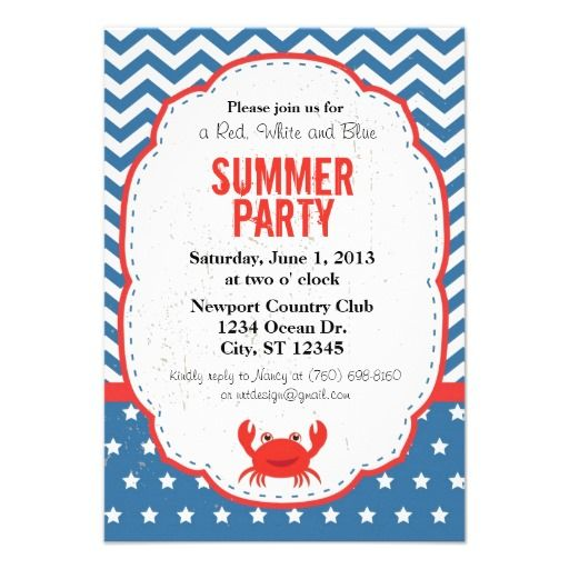 red white and blue summer party invitation 4th of july party