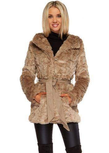 Taupe Faux Fur Hooded Jacket - Taupe Hooded Coat | kabátok ...