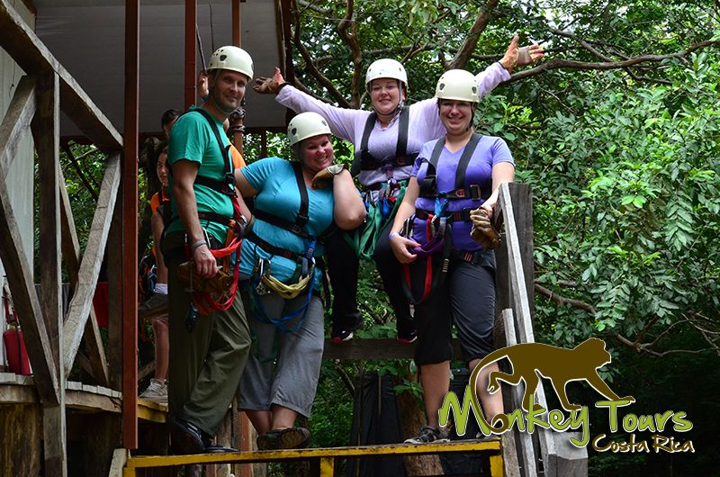 Tour group ready for the zipline canopy experience in Hacienda Guachipelin while on their escorted trip in Costa Rica.... https://www.costaricamonkeytours.com/costa-rica-tour-35/