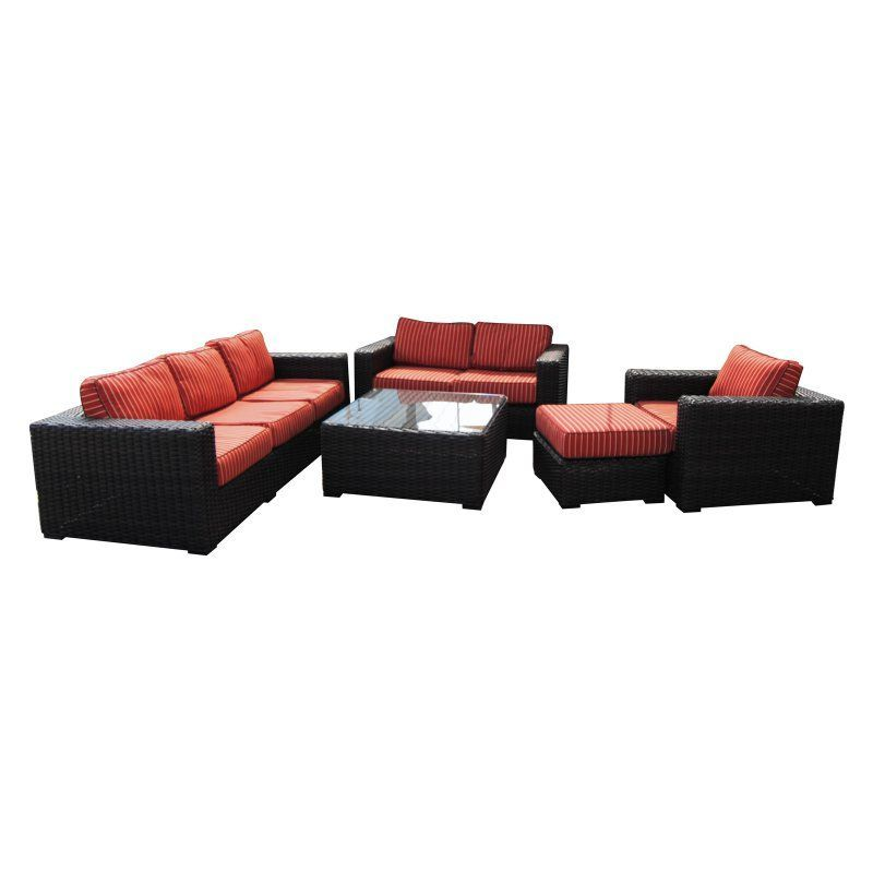 Teva Patio Santa Monica Wicker Rattan 5 Piece Patio Deep Seating Conversation Set With Sunbrella Fabric Patio Lounge Chairs Deep Seating Outdoor Furniture Sets