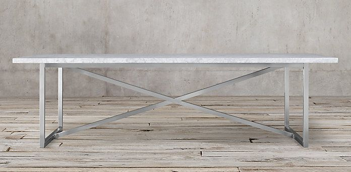 Torano Marble Table White Marble Polished Steel