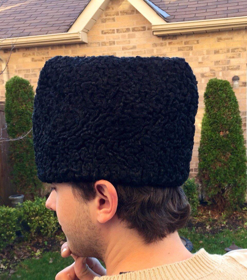 a26df4b17c957 Vintage Men s Hat Persian Wool Stlye Black Russian Ambassador Hat Pleated  on Top by StudioVintage on Etsy
